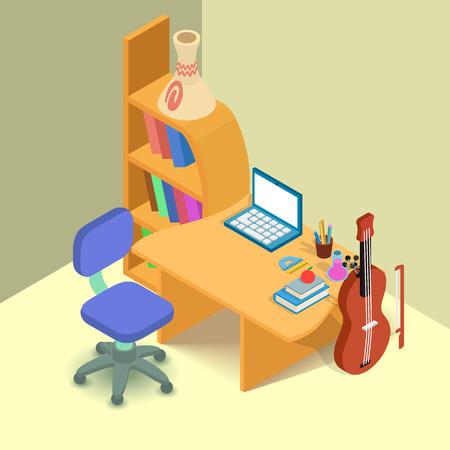 Banner de concepto de lugar de formación. Banner isométrico del concepto de vector de lugar de entrenamiento para web, tarjeta de regalo y postal