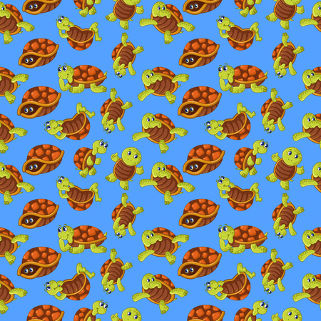 Turtle pattern seamless. Cartoon of turtle vector pattern seamless for web, poster and wrapping paper Illusztráció