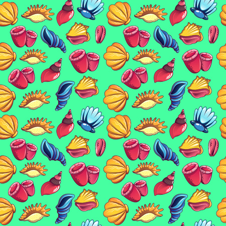 Sea world pattern seamless. Cartoon of sea world vector pattern seamless for web, poster and wrapping paper Vettoriali