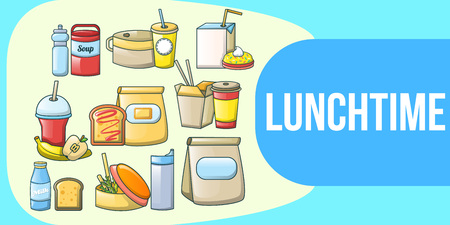 Lunchtime concept banner. Cartoon banner of lunchtime vector concept for web, giftcard and postcard