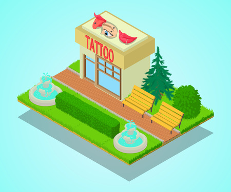 Tattoo centre concept banner. Isometric banner of tattoo centre vector concept for web, giftcard and postcard