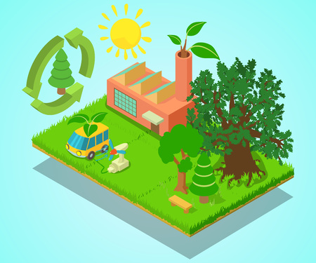 Eco place concept banner. Isometric banner of eco place vector concept for web, giftcard and postcard Illustration