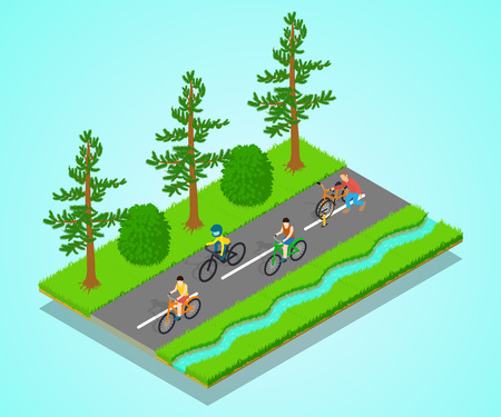 Track concept banner. Isometric banner of track vector concept for web, giftcard and postcard Illustration
