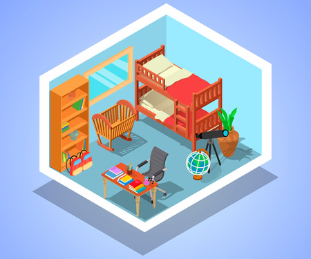 Children room concept banner. Isometric banner of children room vector concept for web, giftcard and postcard