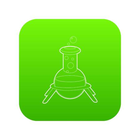 Test flask icon green vector isolated on white background