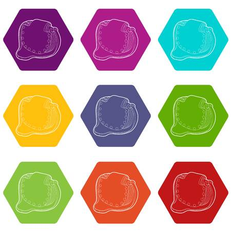 Woman handbag icons 9 set coloful isolated on white for web Stock Illustratie
