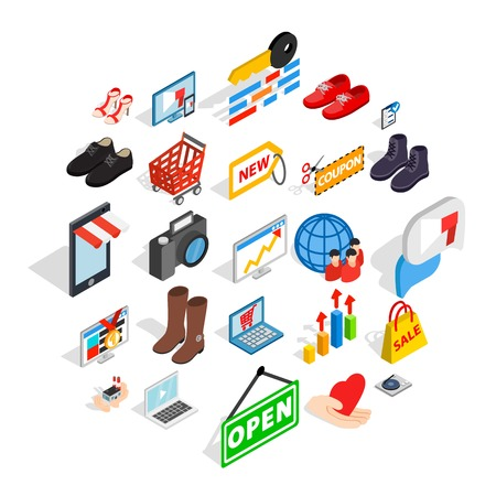 Smart advertising icons set. Isometric set of 25 smart advertising vector icons for web isolated on white background Stock Illustratie