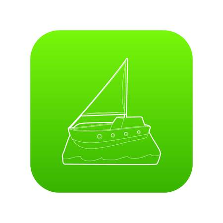Yacht icon green vector isolated on white background Ilustracja