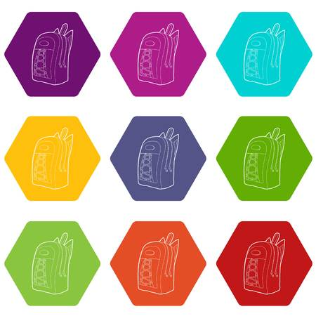 School backpack icons 9 set coloful isolated on white for web Stock Illustratie