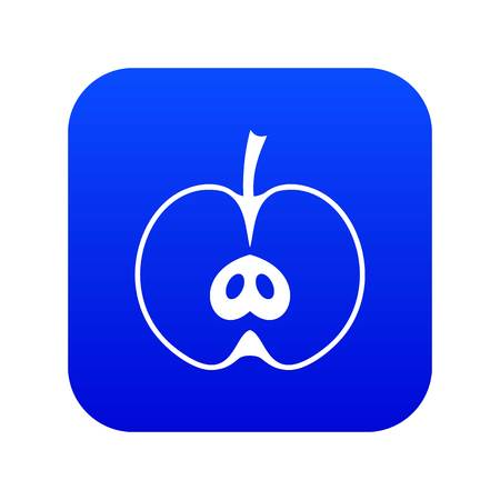 Half apple icon digital blue for any design isolated on white vector illustration
