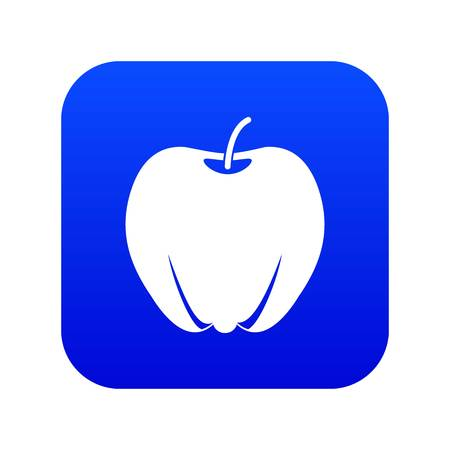 Ripe apple icon digital blue for any design isolated on white vector illustration