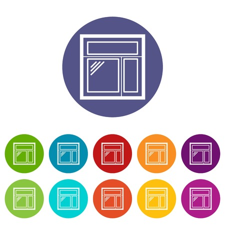 Square window frame icons set vector color