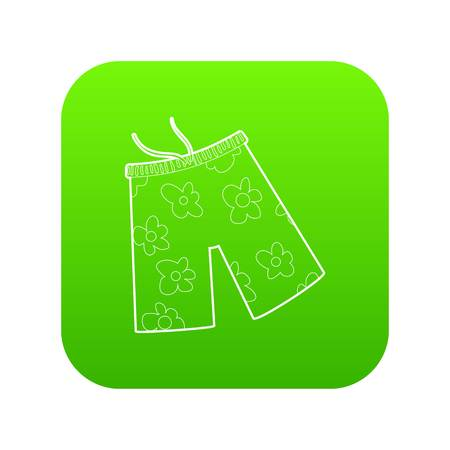 Shorts for swimming icon green vector isolated on white background