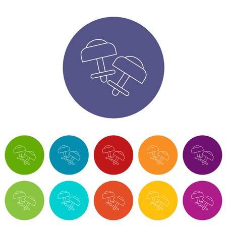Conjunto de iconos de aretes modernos de color vectorial