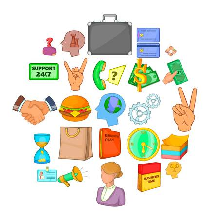 Equipage icons set. Cartoon set of 25 equipage vector icons for web isolated on white background Illustration