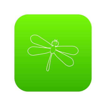 Dragonfly icon green vector isolated on white background