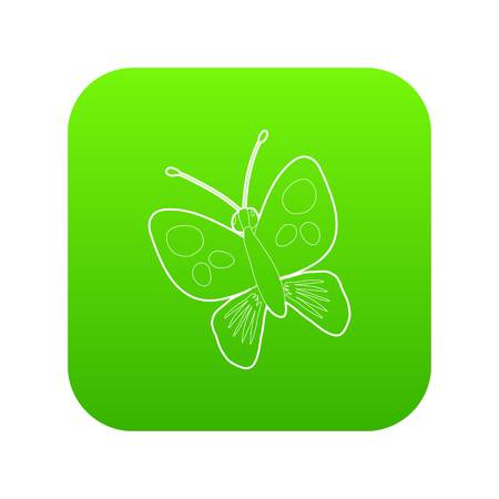 Butterfly icon green vector isolated on white background