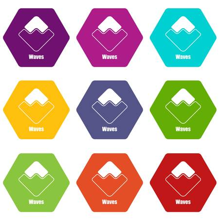 Waves icons set 9 vector
