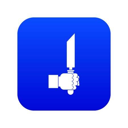 Pincer or plier in man hand icon digital blue