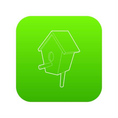 Nesting box icon green vector isolated on white background
