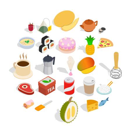Mastery of cooking icons set. Isometric set of 25 mastery of cooking vector icons for web isolated on white background Illustration