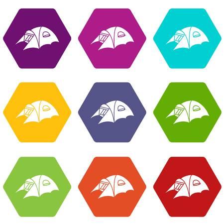 Tourist tent icons set 9 vector