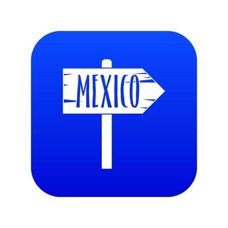 Mexico wooden direction arrow sign icon digital blue for any design isolated on white vector illustration