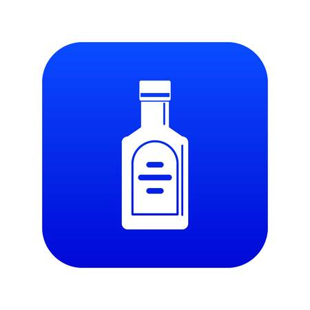 Bottle of whiskey icon digital blue