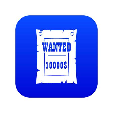 Vintage wanted poster icon digital blue