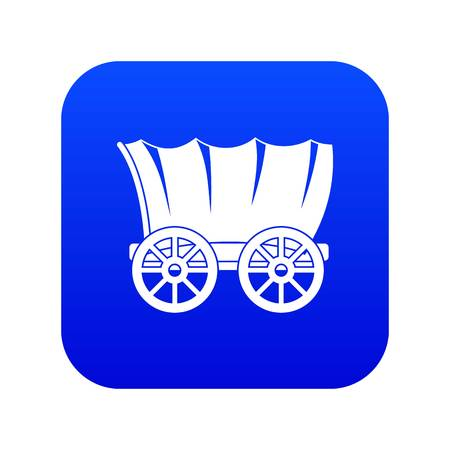 Ancient western covered wagon icon digital blue Stock Illustratie