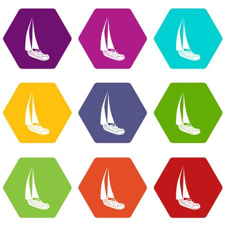Yacht icons 9 set coloful isolated on white for web