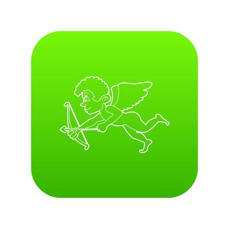 Cupid icon green vector isolated on white background