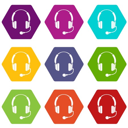 Headphones icons 9 set coloful isolated on white for web Illustration