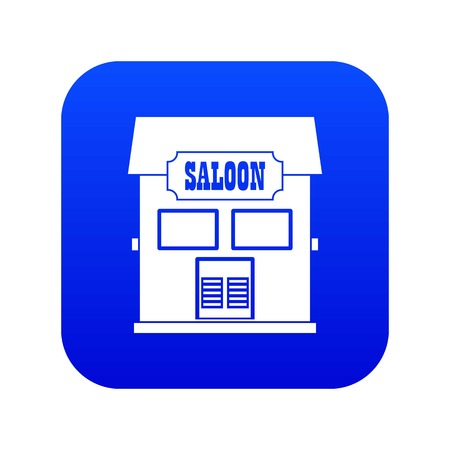 Western saloon icon digital blue for any design isolated on white vector illustration