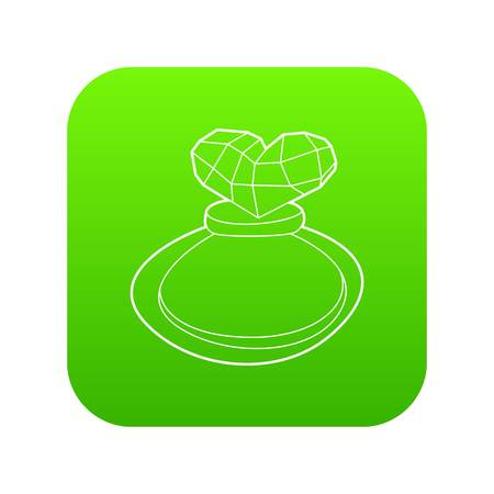 Perfume icon green vector isolated on white background