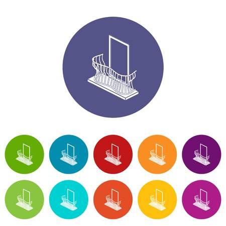 Stylish balcony icons set vector color
