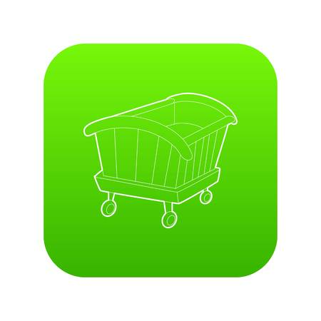 Cradle icon green vector isolated on white background Illustration