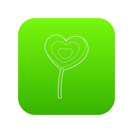 Lollipop heart icon green vector Illustration