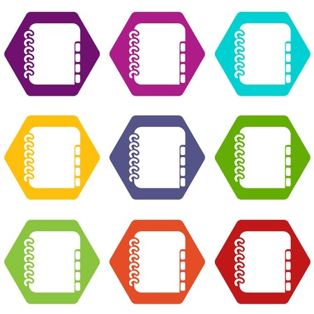 Notebook telephone book icons 9 set coloful isolated on white for web Illustration