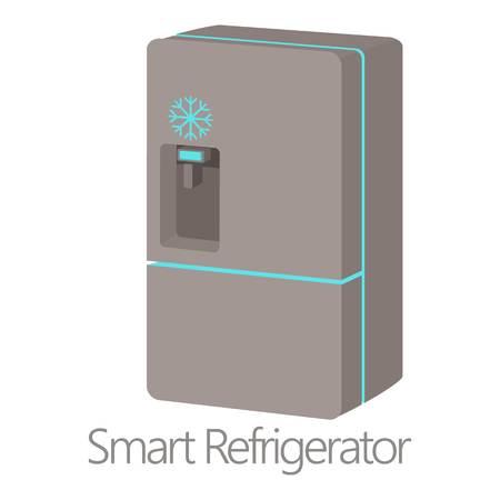 Smart refrigerator icon, cartoon style