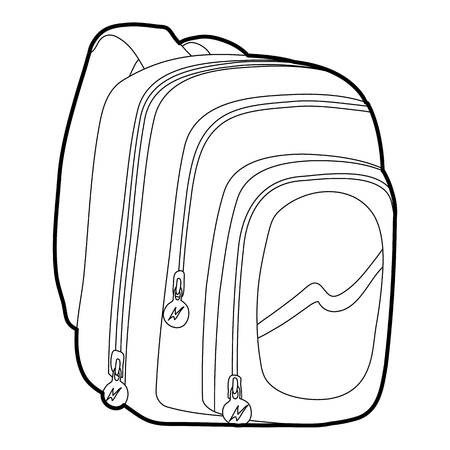 Kids school bag icon outline