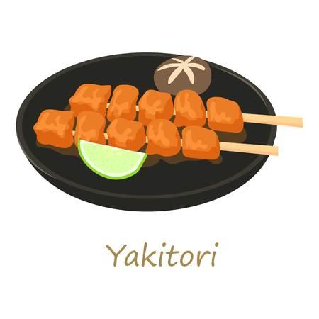 Yakitori icon, cartoon style Stock Photo