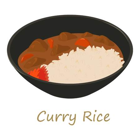 Curry rise icon, cartoon style