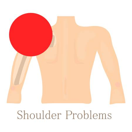 Shoulder problem icon, cartoon style Stock Photo