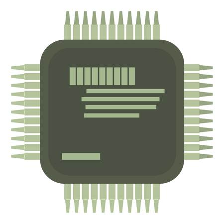 Microprocessor icon, cartoon style