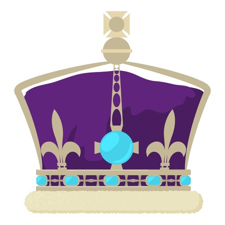 Crown of the King icon, cartoon style