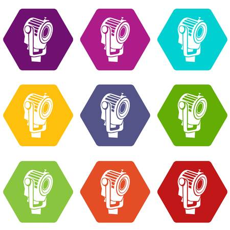 Floodlight icons 9 set coloful isolated on white for web