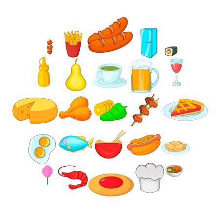 Culinary diversity icons set. Cartoon set of 25 culinary diversity vector icons for web isolated on white background Illustration