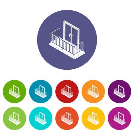 Balcony with metal fencing icons set vector color