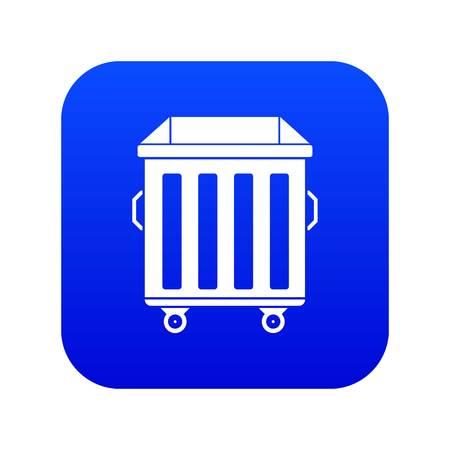 Bin on wheels icon digital blue